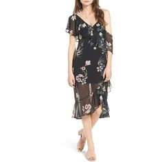 Keepsake the Label Cosmic Girl One Off the Shoulder Dress ($70) ❤ liked on Polyvore featuring dresses, dark garden floral, v neck midi dress, one shoulder dress, floral-print dresses, floral printed dress and v-neck dresses