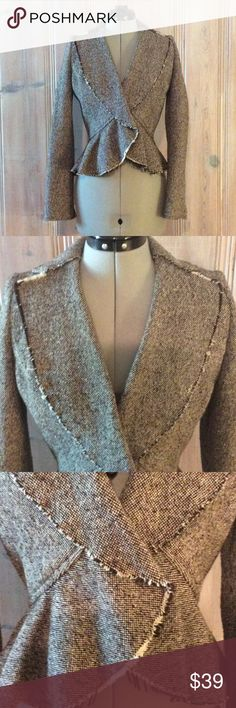 Banana Republic Tweed Jacket Stylish brown tweed jacket by Banana Republic. Distressed ends and frilled hem. Fully lined inside. Size 2. Banana Republic Jackets & Coats Blazers