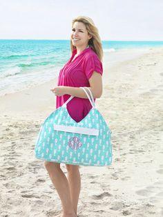 Aqua Seahorse Design Beach Bag