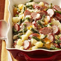 Cheesy Brat Casserole Recipe Main Dishes with polish sausage, potatoes, green beans, cream of mushroom soup, shredded cheddar cheese, chopped onion