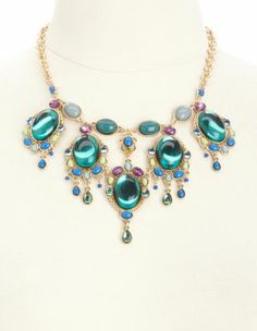 multicolored gem bib necklace