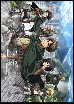 Eren, Mikasa, Armin, Levi, Annie, and Erwin