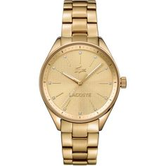 Lacoste Philadelphia watch in yellow golden plating with metal... (€205) ❤ liked on Polyvore featuring jewelry, watches, golden watches, bracelet jewelry, bracelet wrist watch, lacoste watches and metal jewelry