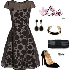 """""""Jaeger Ariagated Spot Silk Organza Dress, Black / White"""" by lellelelle on Polyvore"""