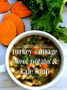 sausage sweet potato and kale soup recipe via firsthomelovelife.com