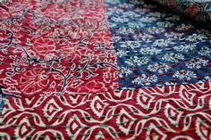 Block prints on kantha quilt create beautiful patterns #kantha #kanthaquilt #blockprint #kantha quilt