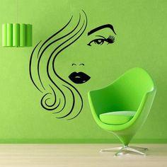 Girl Model Beauty Salon Wall Decor Home Decor Vinyl Art Wall Decor Make Up Decals Cosmetics Sticker Decal size 22x26 Color