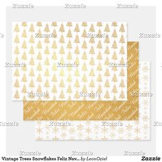 Shop Vintage Trees Snowflakes Feliz Navidad Gold Foil Wrapping Paper Sheets created by LeonOziel. Out Of The Closet, Foil Paper, Paper Crafts, Diy Crafts, Business Supplies, Creative Gifts, Gold Foil, Art For Kids, Snowflakes