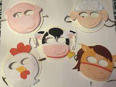 """""""Farm Animals Masks""""  Children can use these masks to act out/ sing-a-long to Old MacDonal Had a Farm or The Farmer in the Dell.   (PROJECT #4)  Materials:  Print out masks OR have children make their own, paper plates, glue, scissors, string (preferably elastic)"""