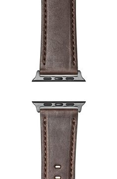 Shinola Grizzly Leather Apple Watch Strap In Cattail Brown/ Silver Plating Apple Watch Leather Strap, Shinola, Luxury Branding, Hand Sewing, Plating, Watches, Brown, Silver, Money