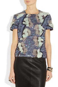 Michael van der Ham|Embellished silk-dupioni top|NET-A-PORTER.COM