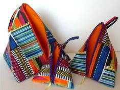 """Very clever tutorial to make these tetrahedron bags. I made them 4"""" x 8"""" for coin purses."""