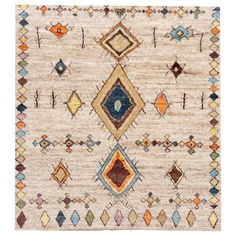 A modern Moroccan-style rug, hand-knotted from the highest quality wool with an all over ivory motif. This rug measures at x Made in India. Moroccan Style Rug, Modern Moroccan, Moroccan Decor, Moroccan Rugs, Fur Carpet, Shag Carpet, Rugs On Carpet, African Rugs, Carpet Trends