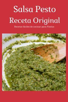 Salsa Pesto Para Pasta, Receta Salsa Pesto, Pasta Al Pesto, Avocado Pasta, Sauce Recipes, Pasta Recipes, Cooking Recipes, Chimichurri, Vegetarian Recipes