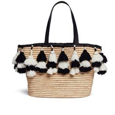 Alice + Olivia 'Sally' pompom straw tote featuring polyvore, women's fashion, bags, handbags, tote bags, neutral, handbags totes, woven straw tote, straw handbags, white tote and travel tote