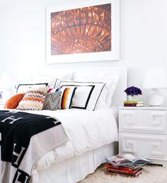 Black and white ...mixing pillows...hermès throw..