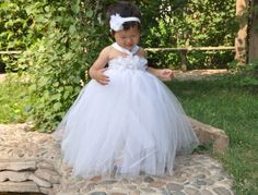 white flower girl dress , Ivory Tutu Dress ,christening todder girl dress , baby girl dress  12M- 8T