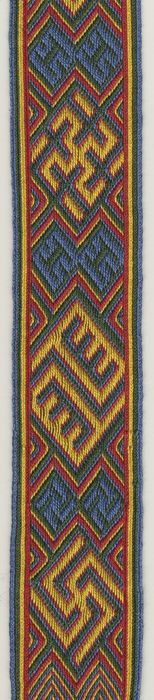Patterns of the Snartemo band. Tablet weaving with 4 colours per tablet. Marijke van Epen