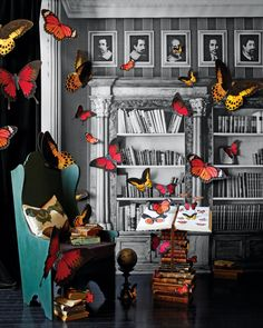 Beautiful butterflies seem to float off the pages of a dusty old tome, growing as they flit around this library. You can make these creatures in different sizes for your display.