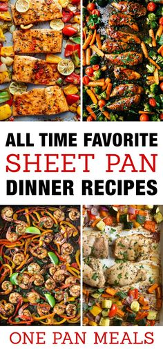 Best Sheet Pan Dinner Recipes for quick family meals! One pan chicken, seafood, meat and vegetable recipe ideas to pop into your oven for an easy meal.