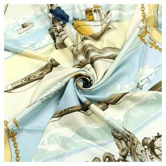 Auth Hermes Paris Gronland Silk Scarf Foulard Philippe Ledoux 90cm ($275) ❤ liked on Polyvore featuring accessories, scarves, hermes shawl, silk shawl, silk scarves, hermes scarves and hermès
