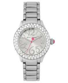 Betsey Johnson Watch, Women's Silver Tone Bracelet 36mm BJ00191-01 - Betsey Johnson - Jewelry & Watches - Macy's