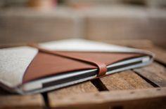 MacBook Pro Sleeve 15 Inch Retina Display Rough Edge  by TheNavis, €72.00 - custom order (light gray + orange leather)