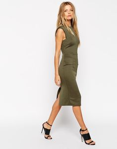 ASOS Midi Pencil Dress In Rib  (Khaki)  UK /12 EU/40   RRP £40.00