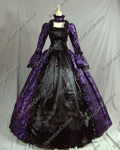 Victorian Gothic Brocade Ball Gown Prom Dress Reenactment Clothing