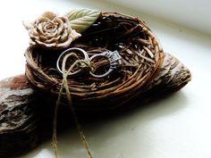 Birds Nest Ring Bearer Pillow Alternative Wedding Ring Holder Clay Flower Unique Natural Fall Wedding Theme