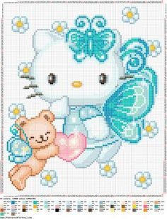 Hello Kitty with blue wings Cross Stitch For Kids, Cross Stitch Baby, Cross Stitch Animals, Counted Cross Stitch Patterns, Cross Stitch Charts, Cross Stitch Designs, Cross Stitch Embroidery, Embroidery Patterns, Hello Kitty Crafts