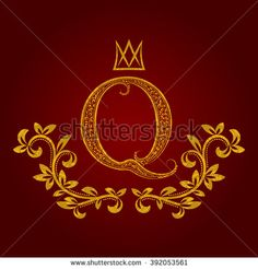 Patterned golden letter Q #monogram in vintage style. Heraldic coat of arms. Baroque #logo template.
