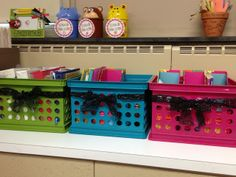 One Extra Degree: Organize counter space by putting stuff in crates by topic.
