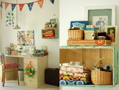painted crate = space for folded fabric + shelf for inspiring photos /tray with treasures
