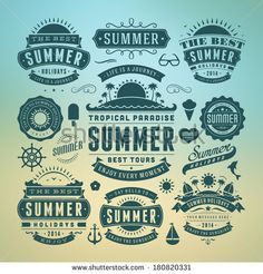 Summer holidays design elements and typography design. Retro and vintage templates. Flourishes calligraphic ornaments, labels, badges, cards. Vector set.  by Vasya Kobelev, via Shutterstock