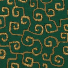 Emerald Green and Gold Abstract Upholstery by PopDecorFabrics