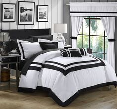 Black and White Comforter Sets Queen, Duvet Covers, Bedspreads -  Chic Home Ritz 20 Piece Comforter Set Color Block Bed in a Bag with Sheets Curtains, King White at luxcomfybedding.com