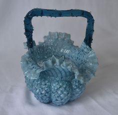 ANTIQUE VICTORIAN THORN BASKET BLUE SPATTER DIAMOND PATTERN