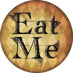 free Alice in Wonderland 'Eat Me' Sticker printables