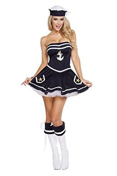 Adult Naughty Navy Girl Halloween Costume includes bustier with anchor detail, the short flair skirt with star details, and Sailor hat with side tie up bow. The costume does not include sexy boot cuffs or adult short petticoat. Vixen Halloween Costume, Halloween Costumes For Girls, Girl Halloween, Women Halloween, Halloween Dress, Halloween Stuff, Halloween Party, Sailor Costumes, Girl Costumes