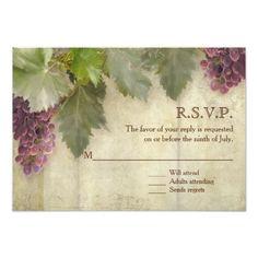 Winery Wedding RSVP RSVP Elegant Rustic Vineyard Winery Wedding Card