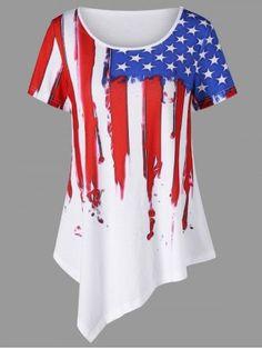 63f981d72fd Yolanda Paz 2017 summer Casual Long T Shirt Women white Irregular Hem  American Flag Print woman tops tees Plus Size T-Shirt