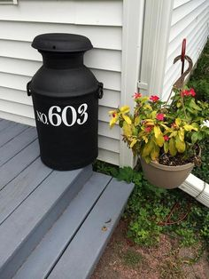 Personalized House No. Address Vinyl Decals for Milk Can, Front Door, or Front Porch Decor Personalized House No. White Planters, Garden Planters, Old Milk Cans, Milk Jugs, Painted Milk Cans, Milk Can Decor, Front Door With Screen, Mid Century Exterior, Porch Decorating