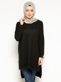Knitted Tunic - Black - Seyhan Fashion