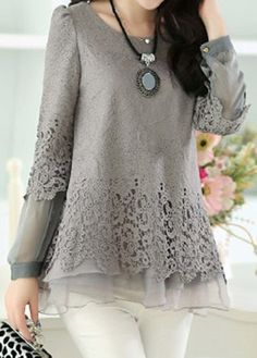 Layered Long Sleeve Lace Panel Grey Blouse | Rosewe.com - USD $30.95
