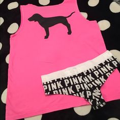 """VS PINK Tank & Cheekster Panty New Large  Victoria's Secret PINK Tank.  New With Tags.  Size large. This has a pocket on front and has slits on each side near hemline. Also, 1 pair of VS PINK Extra Low Rise Cheekster Panty with PINK Logo on white waistband.  Brand new will come in online packaging as panty was ordered online. See pictures as you will receive both items together as I want to sell these together.. No trades or holds. All offers via make """"offer"""" button only please (reasonable…"""