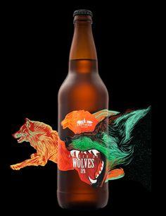 Hired Guns Creative - Raised By Wolves Wild IPA — World Packaging Design Society / 世界包裝設計社會 / Sociedad Mundial de Diseño de Empaques Food Packaging Design, Bottle Packaging, Brand Packaging, Coffee Packaging, Packaging Ideas, Craft Beer Labels, Wine Labels, Label Design, Wraps