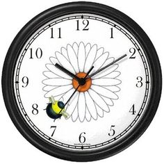 Amazon.com: Bee on Daisy Flower - Bee or Bumblebee - JP Wall Clock by WatchBuddy Timepieces (Black Frame): Home & Kitchen