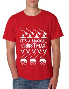 Men's T Shirt It's A Magical Christmas Green Red Top Ugly Sweater
