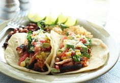 Blackened Salmon Tacos with Corn Salsa and Cilantro Lime Ranch.